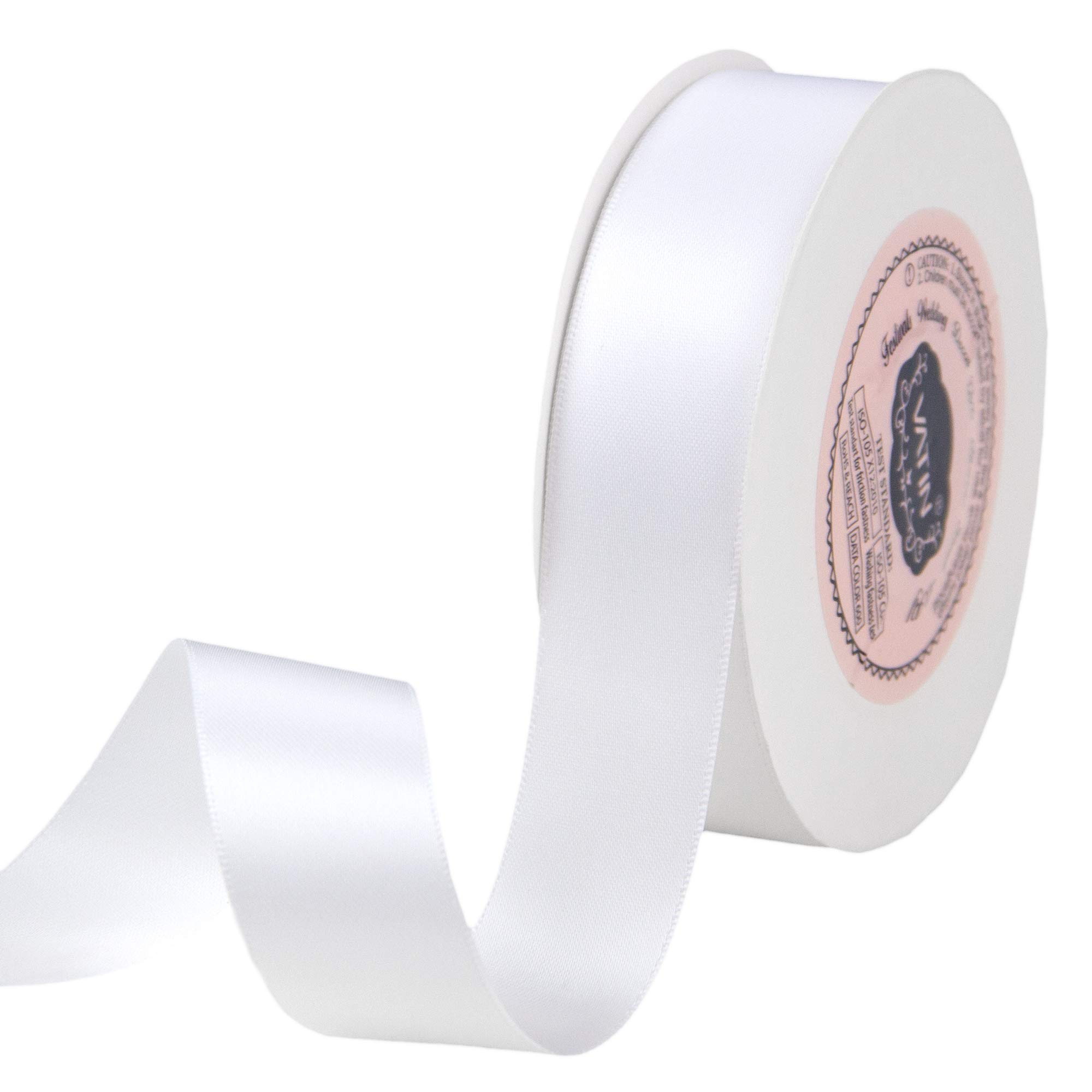 VATIN 1 inch Double Faced Polyester Satin Ribbon White - 25 Yard Spool, Perfect for Wedding, Wreath, Baby Shower,Packing and Other Projects.