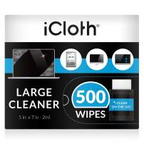iCloth Large Lens and Screen Cleaner Pro-Grade Individually Wrapped Wet Wipes, 1 Wipe Cleans a LCD Monitor, Laptop, or Flat Screen HDTV, Box of 500