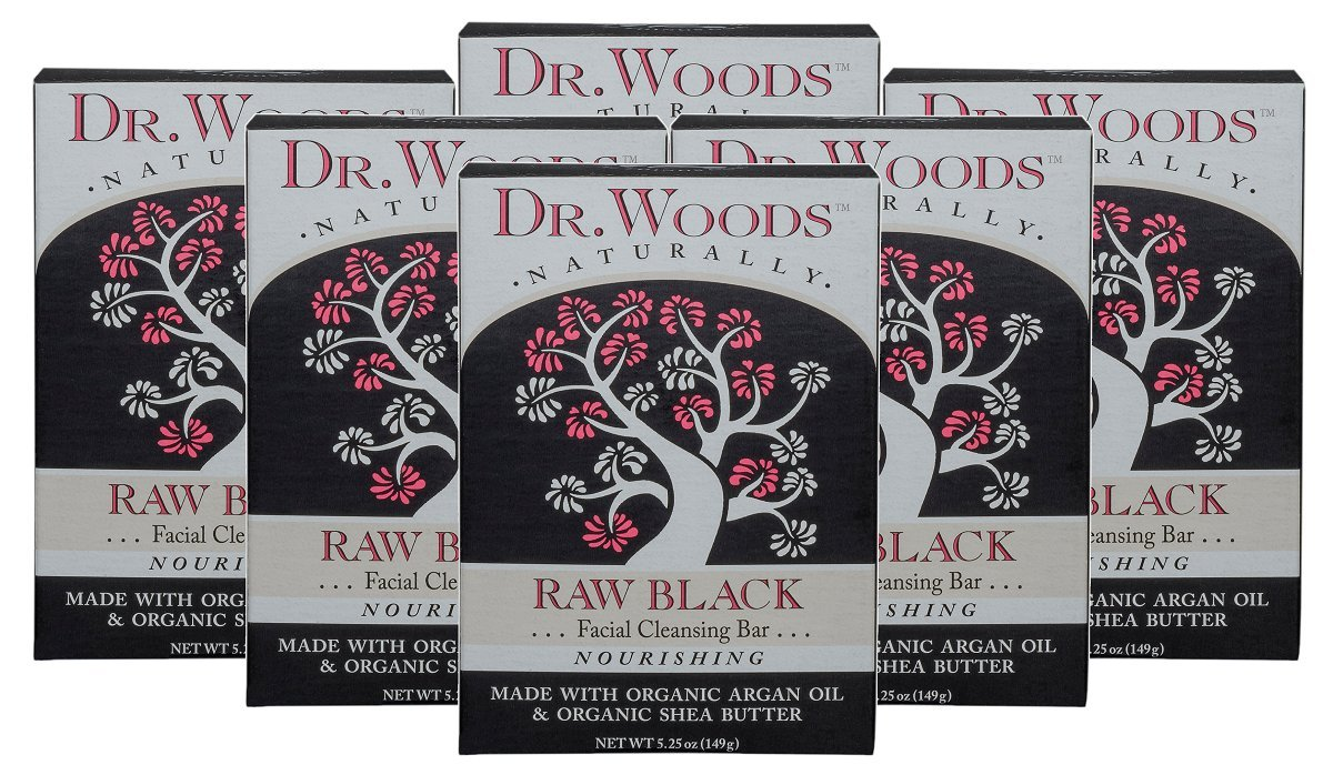Dr. Woods Raw Black Facial Cleansing Bar Soap with Organic Shea Butter, 5.25 Ounce (Pack of 6)