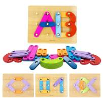KOMOREBI Letter Number Shape Pattern Construction Toys with Color Recognition for Kids Alphabet Blocks Stack Sort Preschool Educational Toy Set for Girls and Boys Age 2-5 Year Old