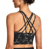 CRZ YOGA Strappy Sports Bras for Women Longline Wirefree Padded Medium Support Yoga Bra Top