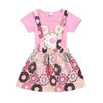Baby Girl Donuts Skirt Set Infant Girl Short Sleeve Bodysuit Romper + Doughnut Suspender Skirt Dress Summer Outfit
