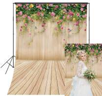 5x7ft Spring Wood Flower Wall Backdrop for Photography Pink Blossom Rose Flower Rustic Wooden Background Kids Children Birthday Party Baby Shower Mother's Day Portrait Photo Background Studio Props