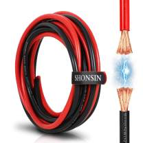 10 AWG Wire, SHONSIN 10 Gauge Silicone Wire 100% Copper【10ft Red & 10ft Black Separated】Ultra Flexible High Temp 392℉/200℃ 10AWG Stranded Wire 1050 Strands 0.08mm OFC Car Battery Cable RC 600V