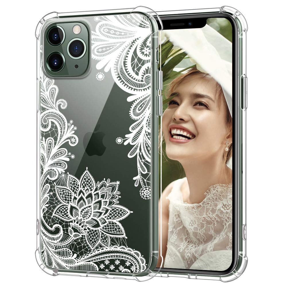 Amurgo iPhone 11 Pro 5.8'' Case 2019, Clear Floral Lace Soft TPU Ultra-Thin Shockproof Transparent Bumper Protective Cover, for Women & Girls