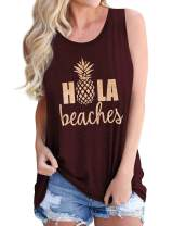 Hubery ZJP Women Casual Hola Beaches Letter Print Tanks Shirt Pineapple Print Tops Tee