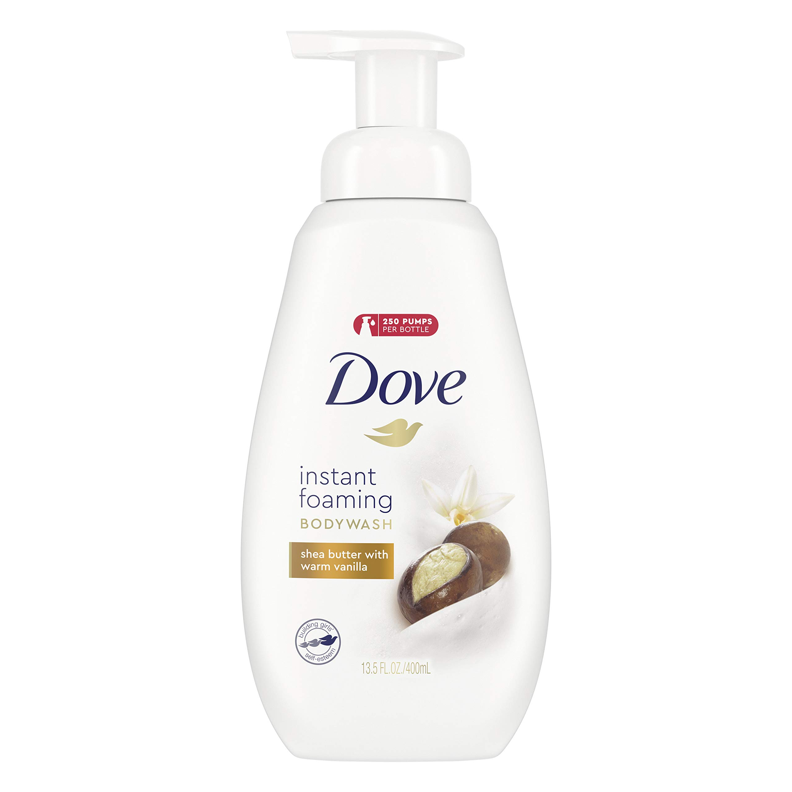 Dove Instant Foaming Body Wash with NutriumMoisture Technology Shea Butter with Warm Vanilla Effectively Washes Away Bacteria While Nourishing Your Skin 13.5 oz