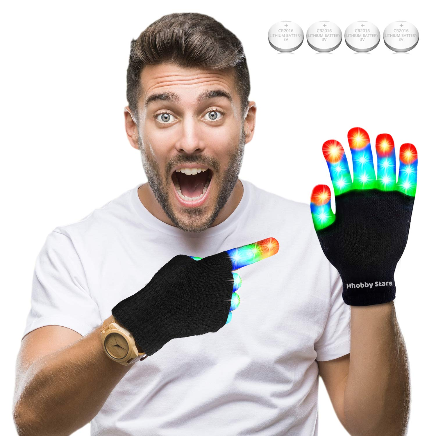 LED Flashing Finger Lighting Gloves, Colorful Light Up Toys with Extra Batteries for Kids Above 10 Years and Adults,Camping Outdoor Games Dark Party Favors Sensory Glow Toys, Best Gift for Christmas