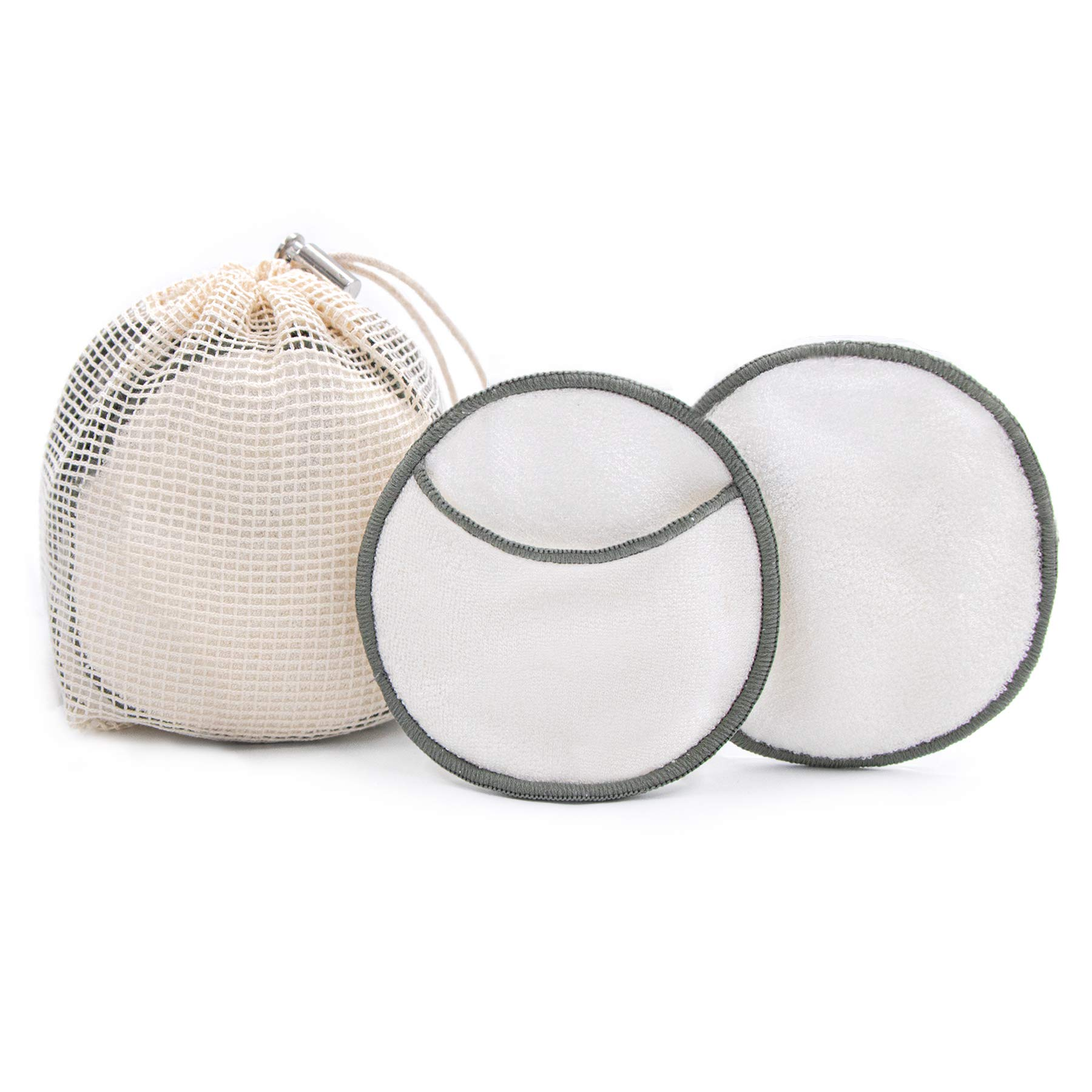 myHomeBody Reusable Makeup Remover Pads   Ultra-Soft and Gentle, Effective Makeup Wipes   Sustainable Bamboo Cotton Rounds 12 Piece Set with Laundry Bag