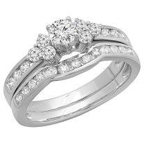 Dazzlingrock Collection 1.10 Carat (ctw) 14K Round White Diamond Engagement Bridal Ring Set 1 CT, White Gold