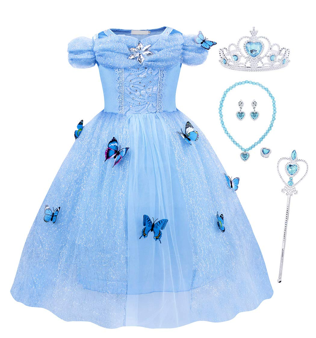 HenzWorld Little Girls Dresses Costumes Outfits Princess Birthday Party Cosplay Jewelry Butterfly Accessories Blue