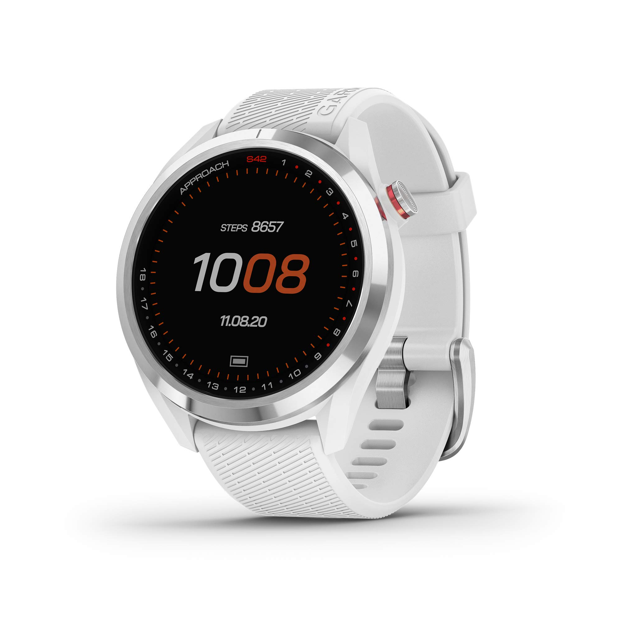 "Garmin Approach S42, GPS Golf Smartwatch, Lightweight with 1.2"" Touchscreen, 42k+ Preloaded Courses, Silver Ceramic Bezel and White Silicone Band, 010-02572-11"