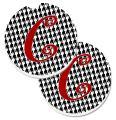 Caroline's Treasures CJ1035-CCARC Monogram Initial C Houndstooth Black Set of 2 Cup Holder Car Coasters, Large, multicolor