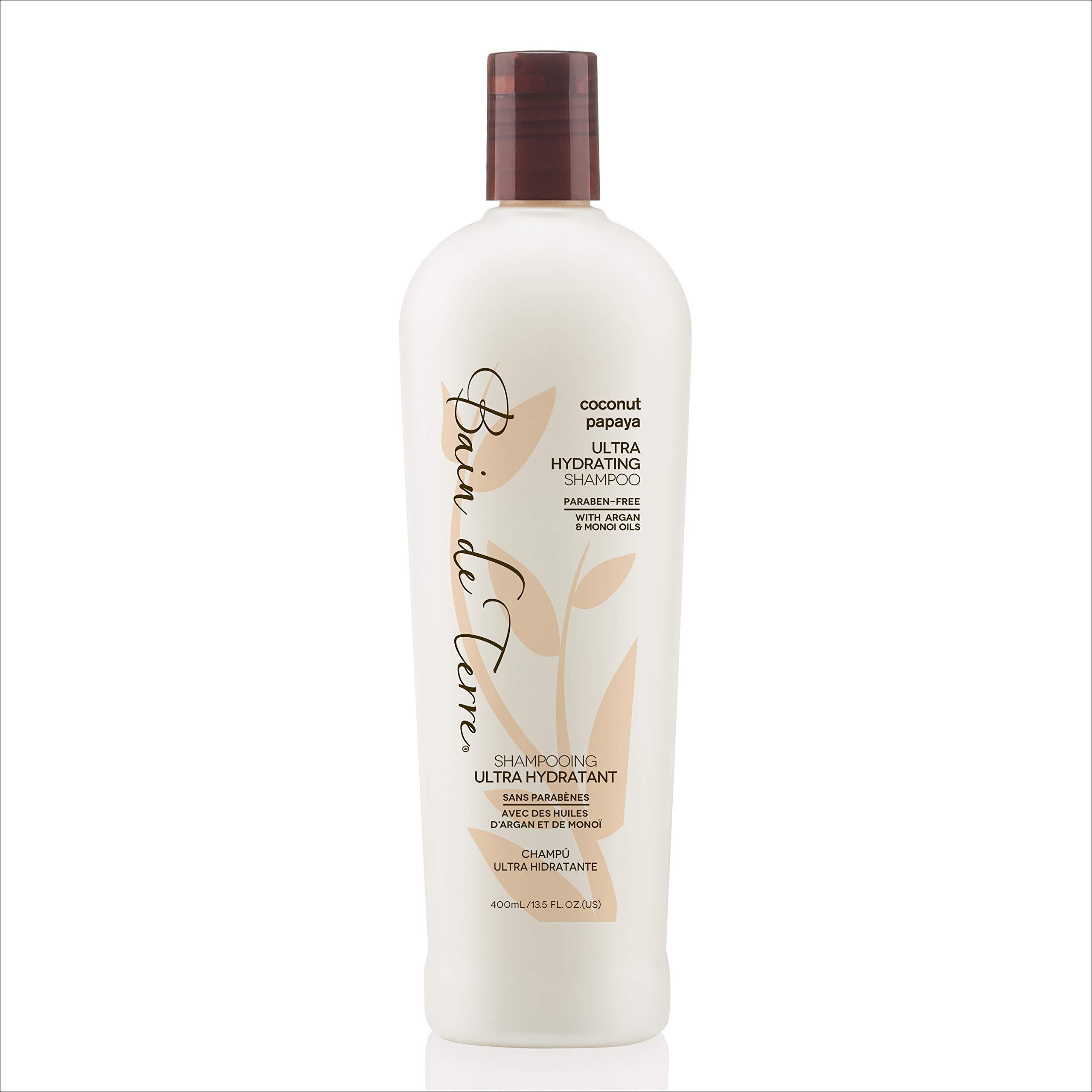 Bain de Terre Coconut Papaya Ultra Hydrating Shampoo, with Argan and Monoi Oil, Paraben-Free, 13.5-Ounce