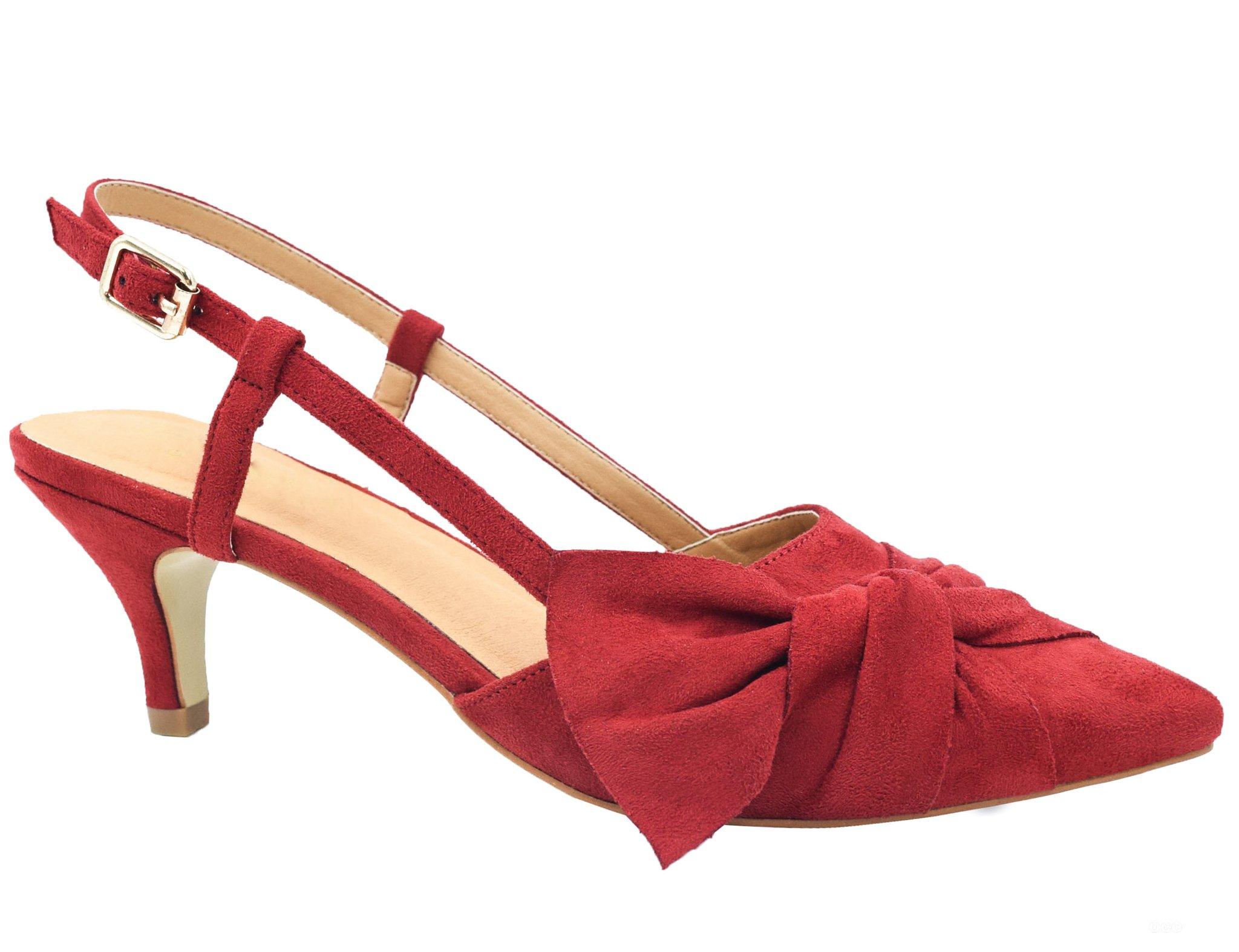 Greatonu Women Shoes Red Sexy Closed Toe Kitten Heels Comfortable Slingback Dress Pumps Size 8