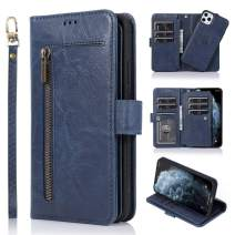 LCHULLE for iPhone 11 Pro Wallet Case 2 in 1 [Magnetic Detachable] Flip Case PU Leather Card Slots Holder Kickstand Zipper Pocket Lanyard Hard PC Case for iPhone 11 Pro-Dark Blue