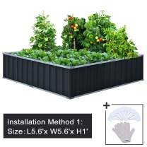 """KING BIRD 67.2""""x 67.2""""x 11.8"""" 4 Installation Methods for DIY Raised Garden Bed Galvanized Steel Metal Planter Kit Box Grey W/ 8pcs T-Types Tag & 2 Pairs of Gloves (Charcoal-Grey)"""