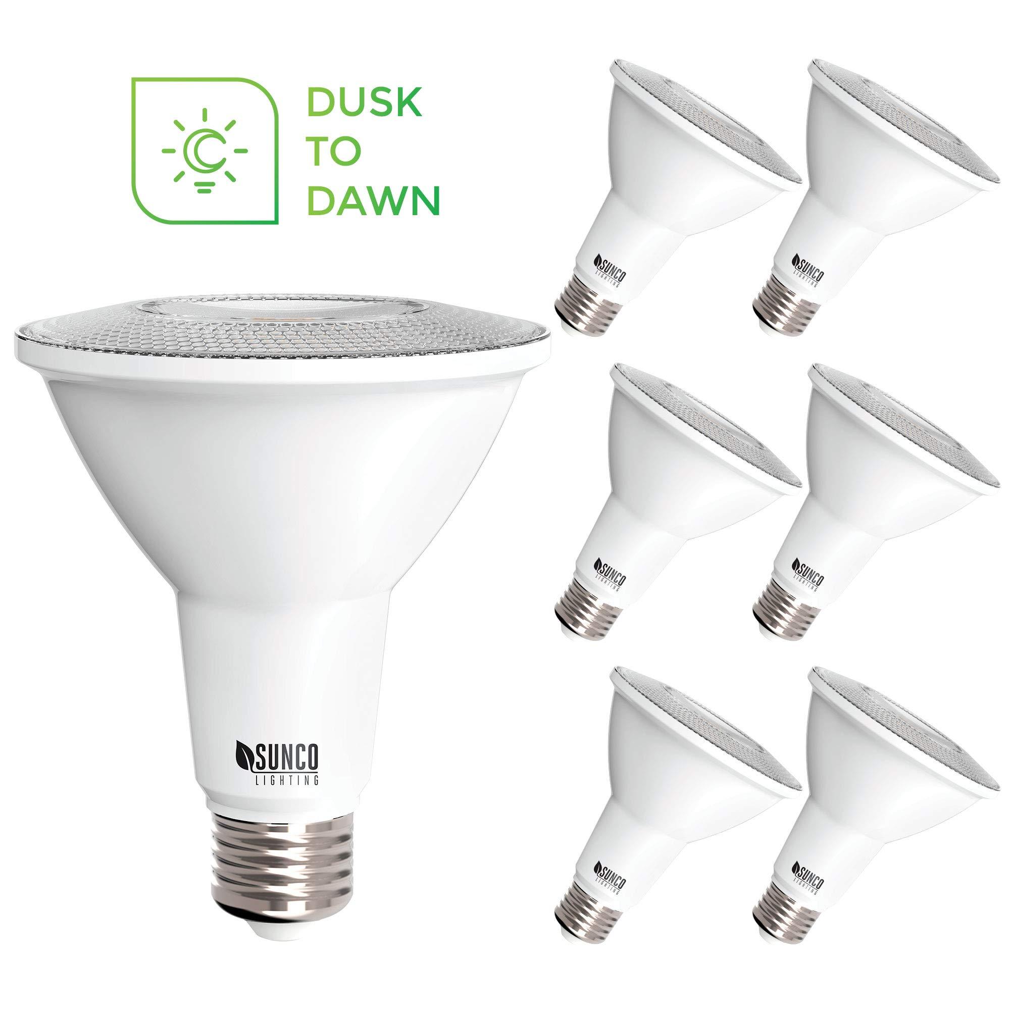 Sunco Lighting 6 Pack PAR30 LED Bulb, Dusk-to-Dawn Photocell Sensor, 11W=75W, 2700K Soft White, 850 LM, Auto On/Off Security Flood Light - UL