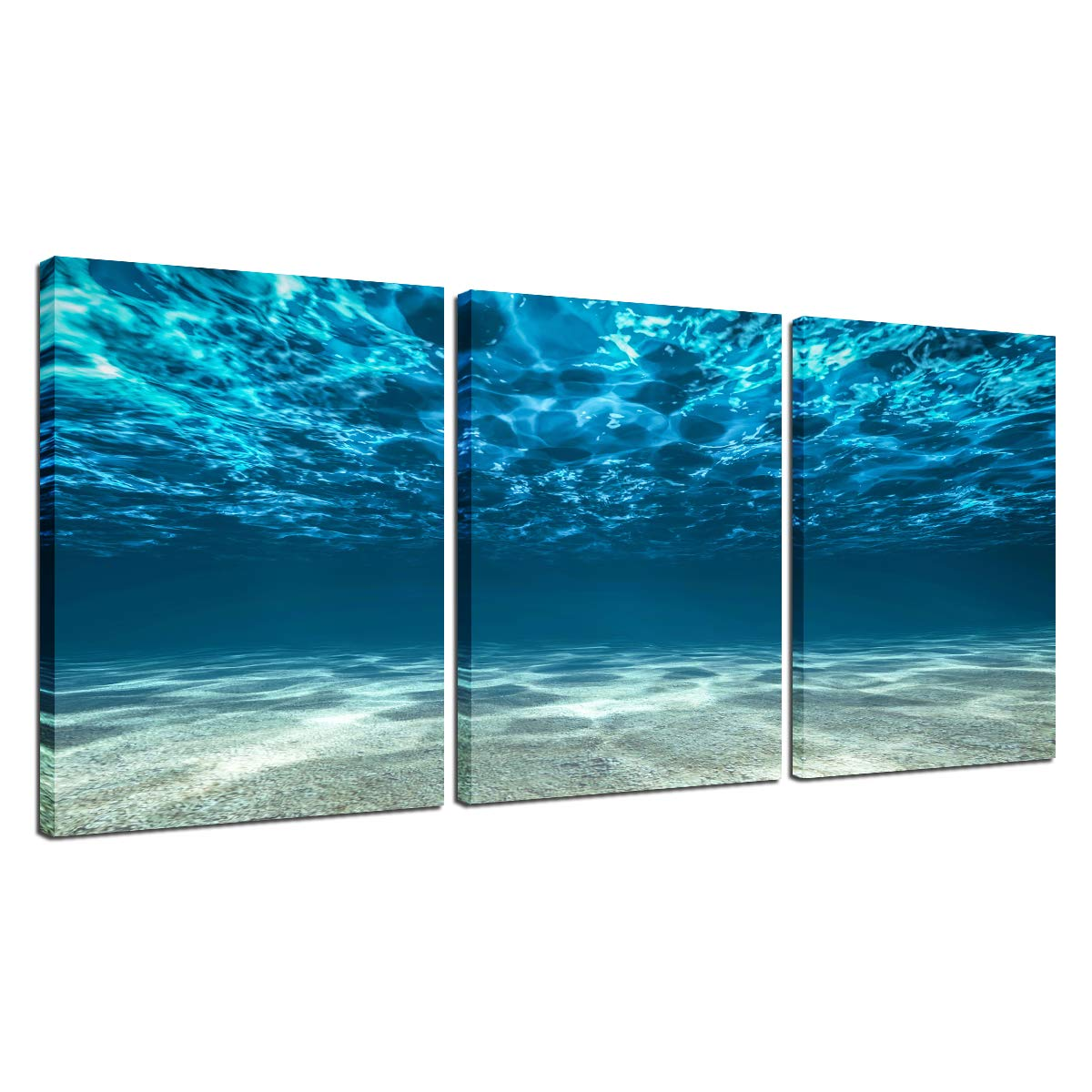 Ocean Sea Canvas Wall Art - Home Office Decor 3 Panel Blue Seaview Bottom View Beneath Surface Seacape Poster Bedroom Kitchen Picture Frame Modern Painting for Living Room Decoration Ready to Hang