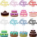 40 Pieces Happy Birthday Cake Toppers Birthday Cupcake Topper Picks for Birthday Party Cake Decoration, 8 Colors