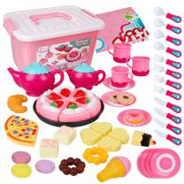 D-FantiX Toy Tea Set for Little Girls, 52Pcs Kids Pretend Play Tea Set for Afternoon Tea Party Food Playset with Plastic Tea Pots Tea Cups Dishes Cake Dessert Gift for Toddlers Age 3 4 5 6 7 Year Old