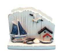 Puzzled White Wooden Sailboat Napkin Holder, 5 Inch Intricate & Meticulous Tropical Wood Art Handmade Tabletop Paper Towel Tissue Organizer Nautical Beach Themed Bar Supply Home & Kitchen Accessory