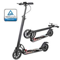 besrey Kick Scooter for Adults/Teens with Hand Brake 220 lbs Max Load, Foldable Kick Scooter with 200mm Big Wheels and Shoulder Strap for Age 8 Year Up