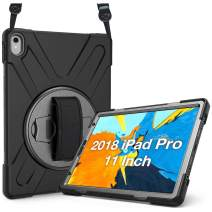ProCase iPad Pro 11 Case 2018 Old Model, 360 Degree Rotatable Kickstand Cover with Adjustable Hand Shoulder Strap, Heavy Duty Shockproof Rugged Case for iPad Pro 11 Inch 2018 Release –Black