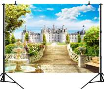 CapiSco 10X8FT Castle Stairs Backdrop Vinyl Photography Studio Background Outdoor Fountain Blue Sky White Clouds Wedding Party Decoration Polyester Seamless Photo Studio Booth Backdro SCO44C