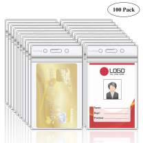 Fushing Pack of 100 Clear Plastic Vertical Badge Holders, Name Tag Holders, Card Holders (XXXL)