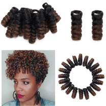 5 Packs Synthetic Jumpy Wand Curl Crochet Braids Hair 10 inch Toni Curl Crochet Hair Extensions Jamaican Bouncy Twist Hair Saniya Curly For Black Women 20 Roots/Pack(5 packs,Black to Light Brown)