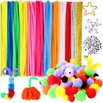 Hicdaw 470Pcs Pipe Cleaners Craft Pipe Cleaners PipeCleaners Craft Supplies Including 120Pcs Pipe Cleaners, 150Pcs Wiggle Eyes, 200pcs Pom Poms for DIY Art Craft Decorations