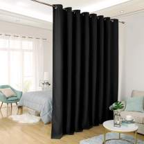 Deconovo Privacy Room Divider Curtain Thermal Insulated Blackout Curtains Extra Large Screen Partitions Room Darkening Panel for Sliding Door, 15ft Wide x 9ft Tall 1 Panel Black