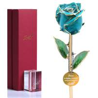 24k Gold Rose Flowers Gold Dipped Real Rose Blue Roses for Valentine's Day Anniversary Birthday for Her Wife Girlfriend Mom with K9 Crystal Stand