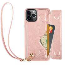 iPhone 11 Pro Wallet Case, iPhone 11 Pro Case with Card Holder, ZVEdeng iPhone 11 Pro Case with Wrist Strap, Shockproof Leather Wallet Card Case Flip Case Handbag for iPhone 11 Pro,5.8inch-Rose Gold