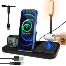 Qi Wireless Charger, 5 in 1 Wireless Charging Station with Night Light & Fan, 15w Fast Portable Wireless Charger Stand Pad for iPhone 12/12 Pro/12 Pro Max/11/X/XR/S20/S10/S8/iWatch/Airpods