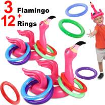 iGeeKid 15 Set Inflatable Flamingo Ring Toss Pool Game Swimming Pool Toys Hat for Kids Adults Pool Party Games Summer Swim Pool Party Water Carnival Outdoor Beach Floating Game Toys