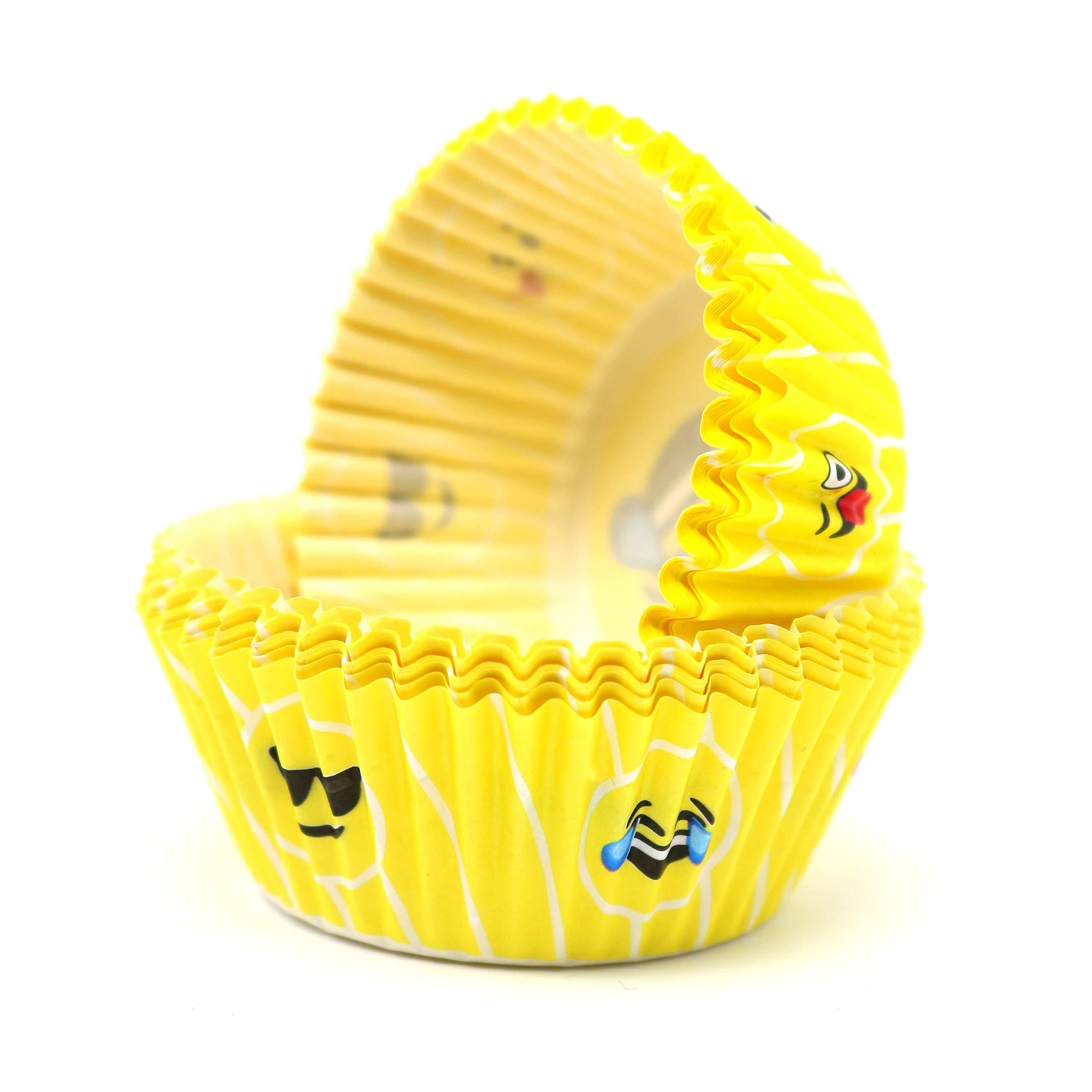 Big Mo's Toys Emoji Liners Party Cupcake Holders - Emoji Birthday Party Favors, Emoji Cupcake Liners, Emoticon Muffin Wrappers, Emoji Bday Favors (40 Pc / 2 Emoji Styles Per Pack)
