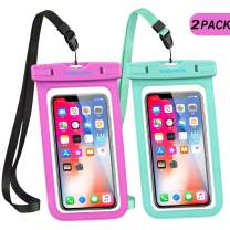 """GLBSUNION Universal Waterproof Case, IPX8 Water proof Phone Pouch Dry Bag Compatible for iPhone 11 Pro Xs Max XR X 8 7 Galaxy up to 6.9"""", Protective Pouch for Pools Beach Kayaking Travel Bath (2-Pack)"""