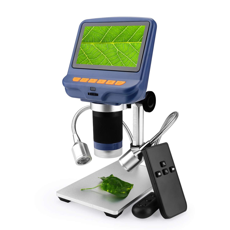 Digital USB Microscope 4.3 inch 10X-220X Magnification Zoom,1080P HD LCD Digital Microscope Camera Video Recorder for Cellphone Circuit Board Repair Soldering Tool Jewelry Appraisal Watch Repair