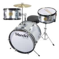Mendini by Cecilio 16 inch 3-Piece Kids/Junior Drum Set with Adjustable Throne, Cymbal, Pedal & Drumsticks, Metallic Silver, MJDS-3-SR