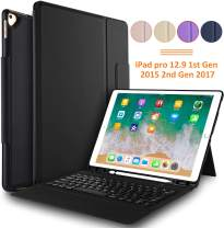 IVSO Keyboard Case for ipad pro 12.9-Lightweight One-Piece Wireless Keyboard Stand Case Cover with Pencil Slot for Apple ipad pro 12.9 inch 1st Gen 2015 ipad pro 12.9 inch 2nd Gen 2017 Tablet(Black)