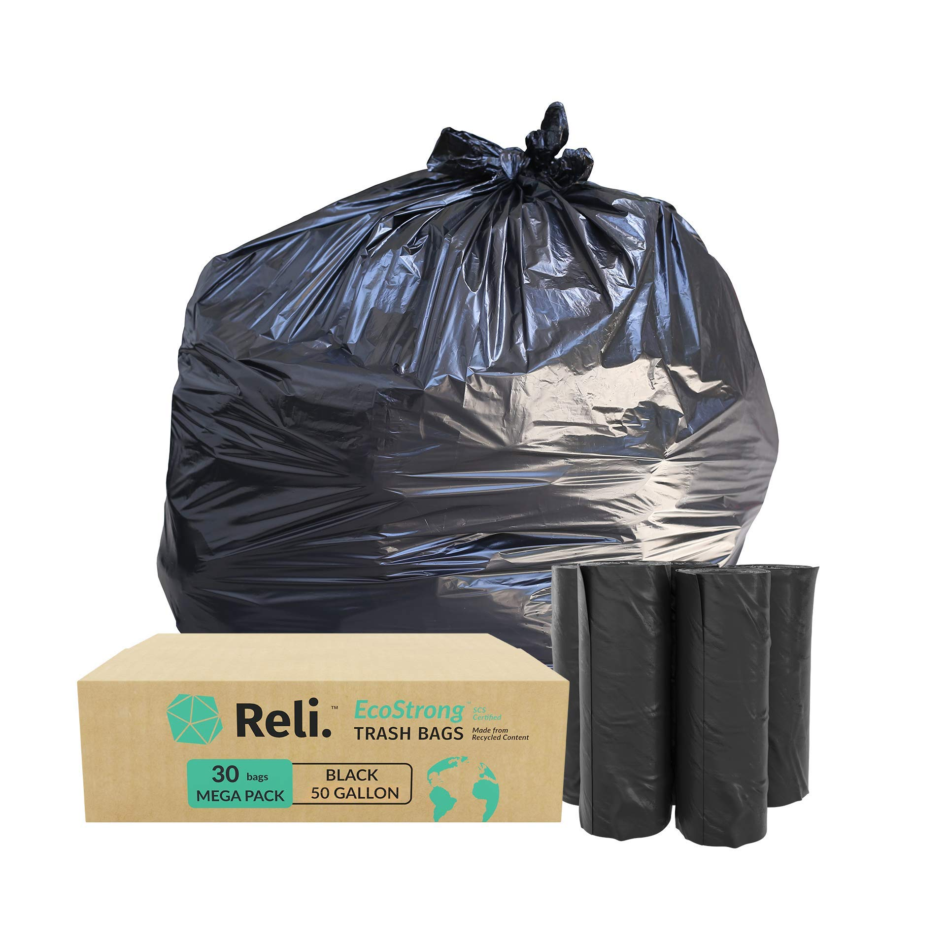 Reli. EcoStrong 50 Gallon Trash Bags (30 Count) Eco-Friendly Recyclable, Black 50 Gallon Garbage Bag - Made From Recycled Material - Recyclable Garbage Bags 39 Gal - 40 Gal - 45 Gal Compatible