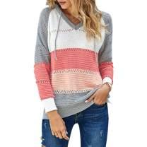 AGUTIUN Womens Pullover Hoodie Sweaters Color Block Long Sleeve Knitted Pullover Sweatshirts Lounge Hoodie Tops