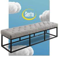 Serta Danes Tufted Bench with Iron Legs, Modern Bench for Bedroom or Living Room, Long Rectangular Shape Padded Upholstery, Pearl Gray