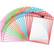 Dry Erase Pockets 30 Pack, Eathtek Reusable Dry Erase Sleeves, Perfect for Your Office,School,Classroom,Children & More (10 x 14 inches,6 Colors,5pcs Each)