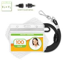 Claev Horizontal ID Badge Holder with Safety Lanyard Set (Black, 2.25x3.5 Inch, 100 Pack), Clear Waterproof Name Badge Holders