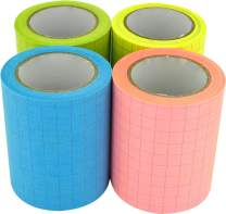 4A Roll Sticky Notes,Full Adhesive,Width x Length 2 x 315 Inches,Neon Assorted,Grid,Self-Stick Notes,4 Refill Rolls,4A PSS 9-1 Grid Refill
