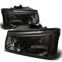Smoke Housing Clear Corner Headlight Lamp Replacement for Chevy Silverado Avalanche 03-06 (without Factory Cladding)