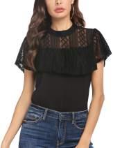Beyove Women's Lace Tops Short Sleeve Chiffon Blouse Ruffles Casual Shirt S-XXL